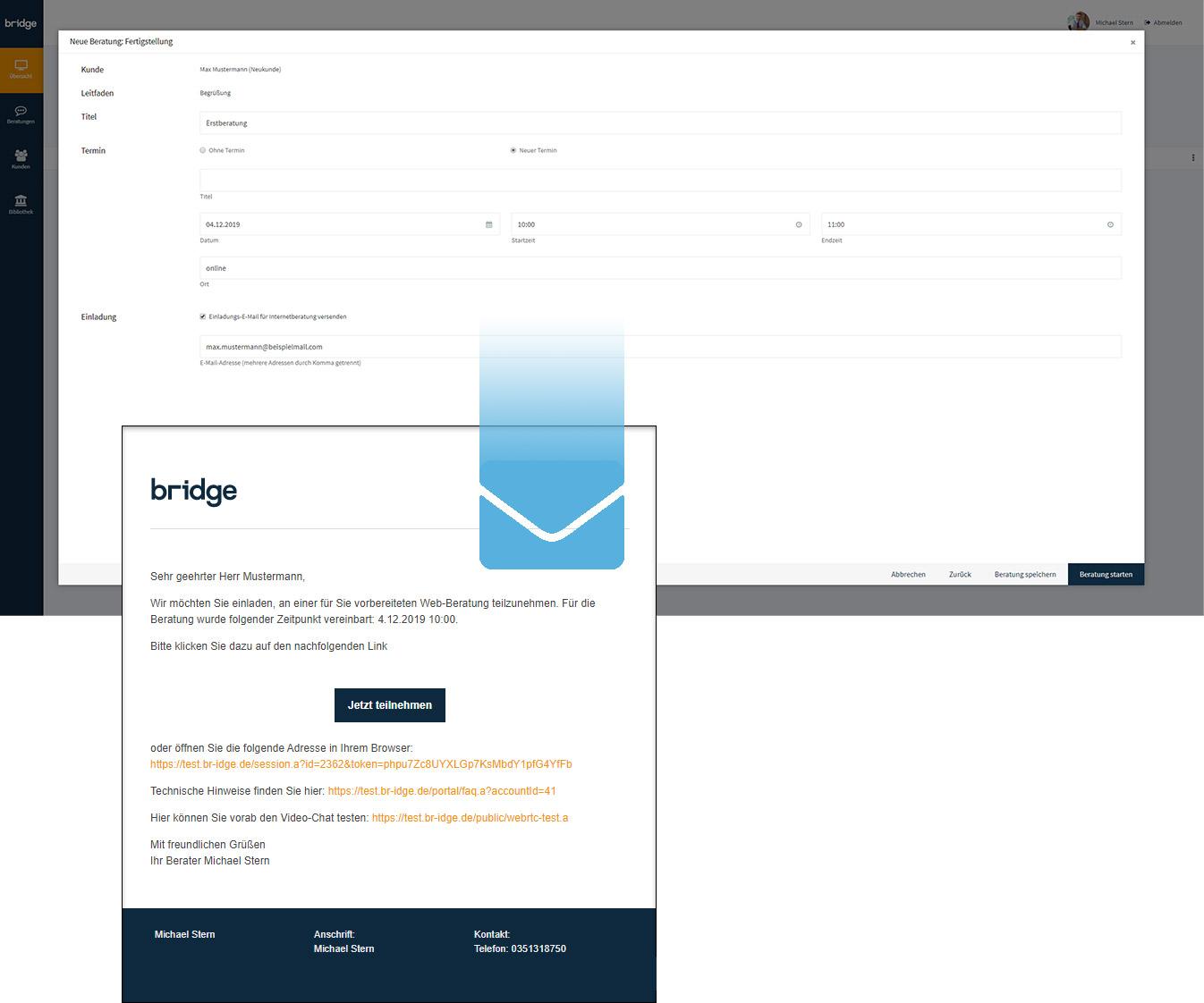 Screenshot von einer Termineinladung für eine Online-Beratung mit der Beratungssoftware von Bridge