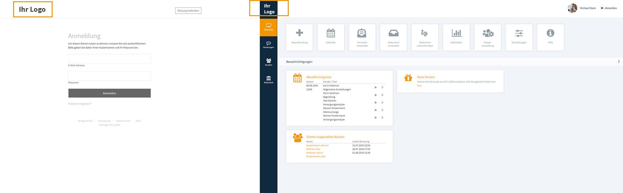 Screen der Beratungssoftware von Bridge, ohne das Bridge-Logo, mit dem Hinweis, dass dort das Logo unternehmensspezifisch angepasst werden kann.