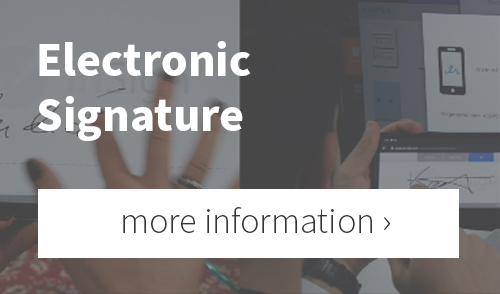 Reference to further information on the electronic signature feature of the Bridge video conferencing software
