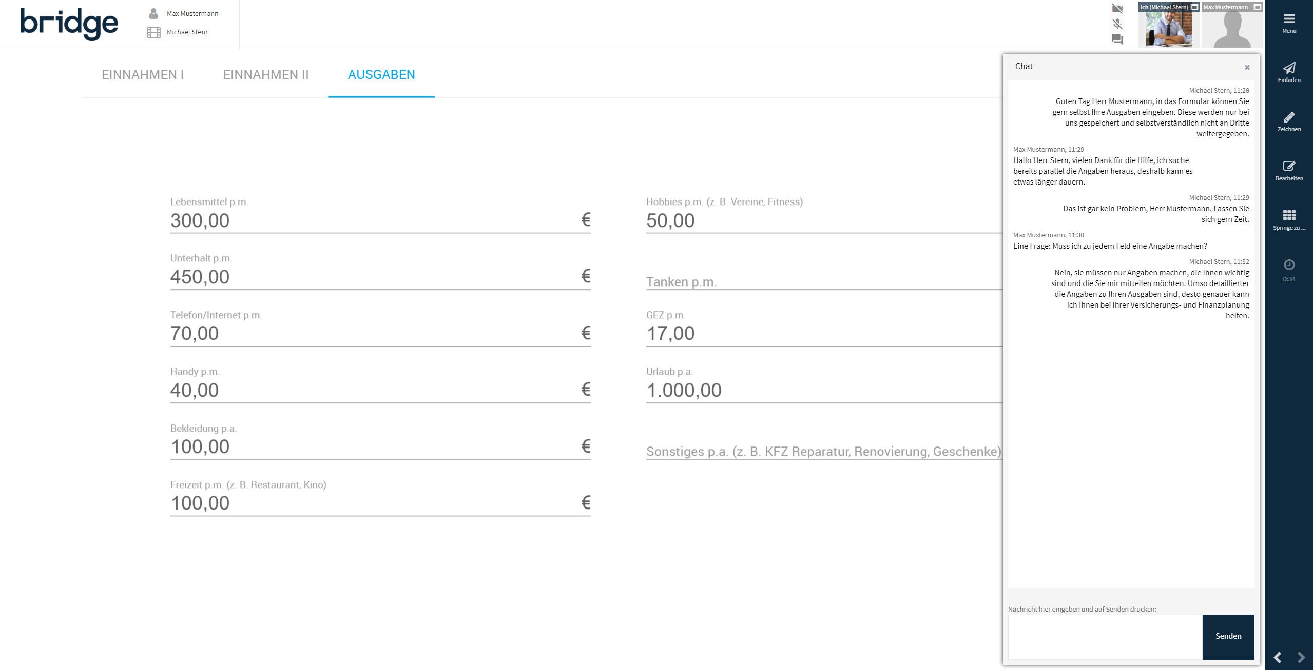 Screen der Bridge Beratungssoftware während einer Online-Beratung mit einem Live-Textchat.