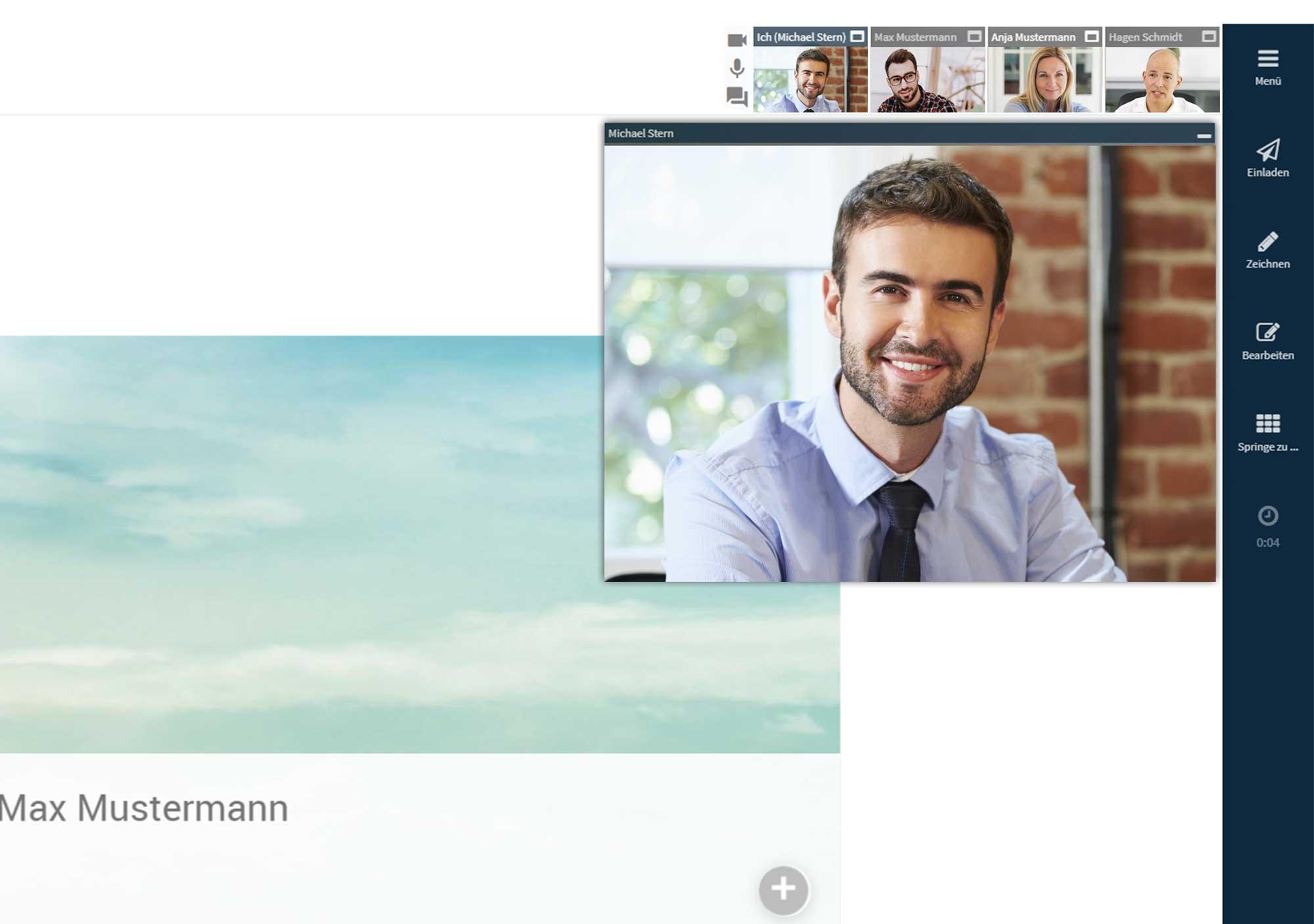 Screen mit der Begrüßungsfolie für eine Online Beratung in der Beratungssoftware von Bridge. Versicherungsmaklerin und Kundin kommunizieren per Videotelefonie.