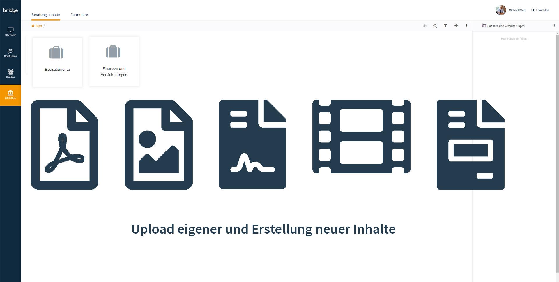 Screen von der Cloud-Bibliothek in der Beratungssoftware von Bridge mit Symbolen und dem Hinweis, dass auch eigene Inhalte erstellt und hochgeladen werden können.