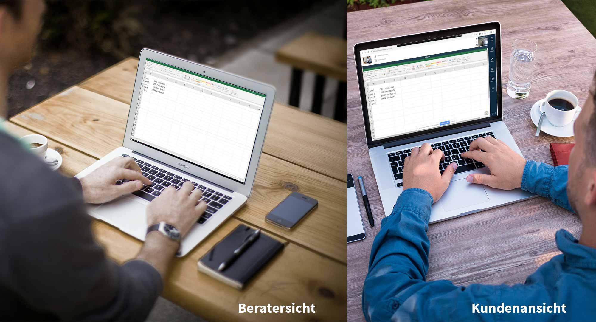 Ein Versicherungsmakler und sein Kunde sitzen an verschiedenen Orten vor Ihren Laptops. Der Kunde sieht während der Online-Beratung mit Bridge den Bildschirm seines Beraters.