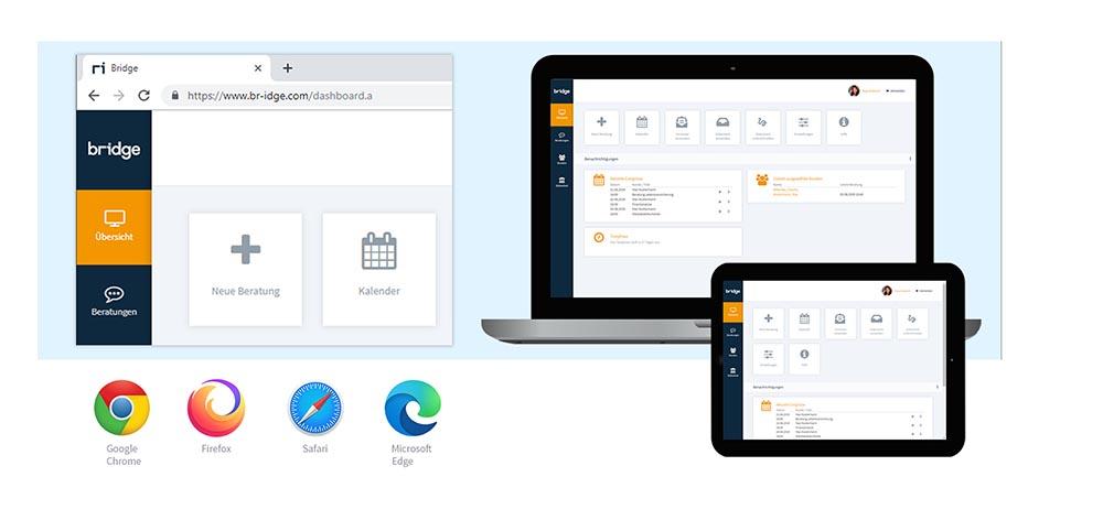 Ein Laptop und ein Tablet zeigen die Übersichtsseite der Beratungssoftware von Bridge. Links daneben ist ein vergrößerter Ausschnitt der Software Übersichtsseite zu sehen und darunter die Symbole der Browser Google Chrome, Firefox, Safari und Microsoft Edge.