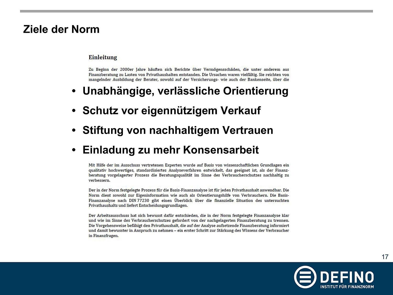 Ziele zur Verbraucherorientierung der DIN 77230 aus der Präsentation von Dr. Klaus Möller auf der Veranstaltung zu DIN 77230 am 05.02.2019 in Berlin